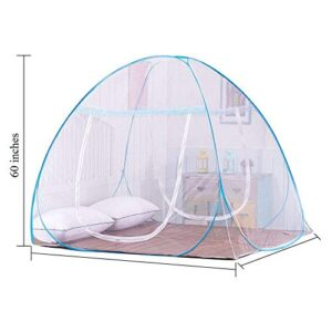 AmazingHind Double Bed Foldable Mosquito Net Without Base Cloth - (Blue Net, 6.2 x 6.2 Feet)