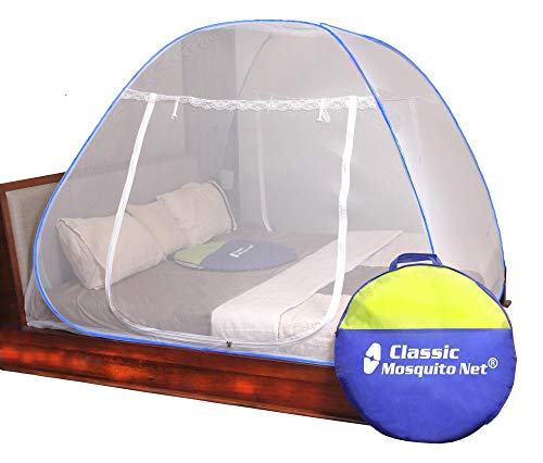Classic Mosquito Net   Double Bed King Size Bed   Polyester Foldable - (Blue)