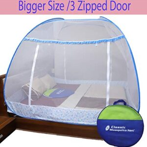 Classic Mosquito Net Supreme Foldable King Size with 3 Side Zipper Opening Doors & Mobile Pocket - (Blue)