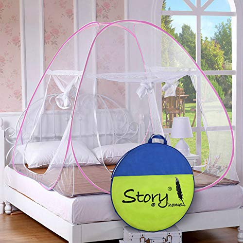 Story@Home Foldable King Size Mosquito Net for Double Bed with Soft Mesh and 2 Side Zipper Opening Doors White (200x200cm)