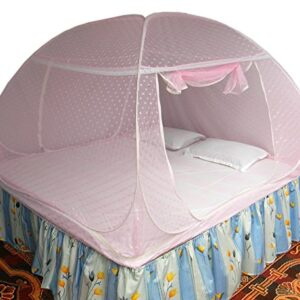 Healthy Sleeping Foldable Polyester Double Bed Mosquito Net - Embroidery (Pink)